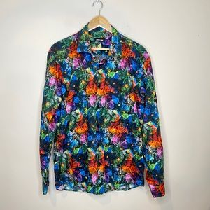 Jared Lang Vibrant Floral Long Sleeve Button Down